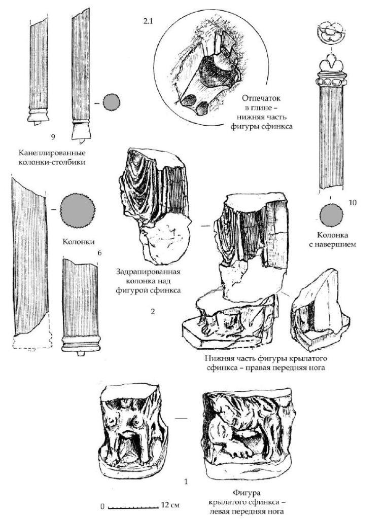 Рис. 86. Резные детали тронного ложа из мавзолея