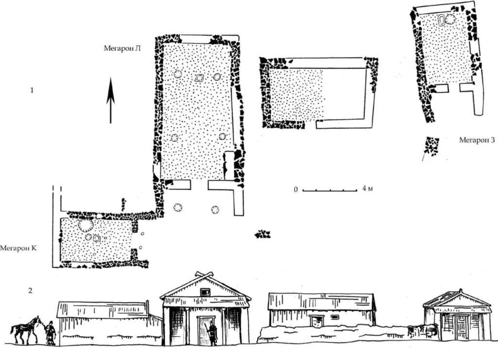 Рис. 97. Мегароны 3, К, Л горизонта С на пригородной территории. План и вариант реконструкции