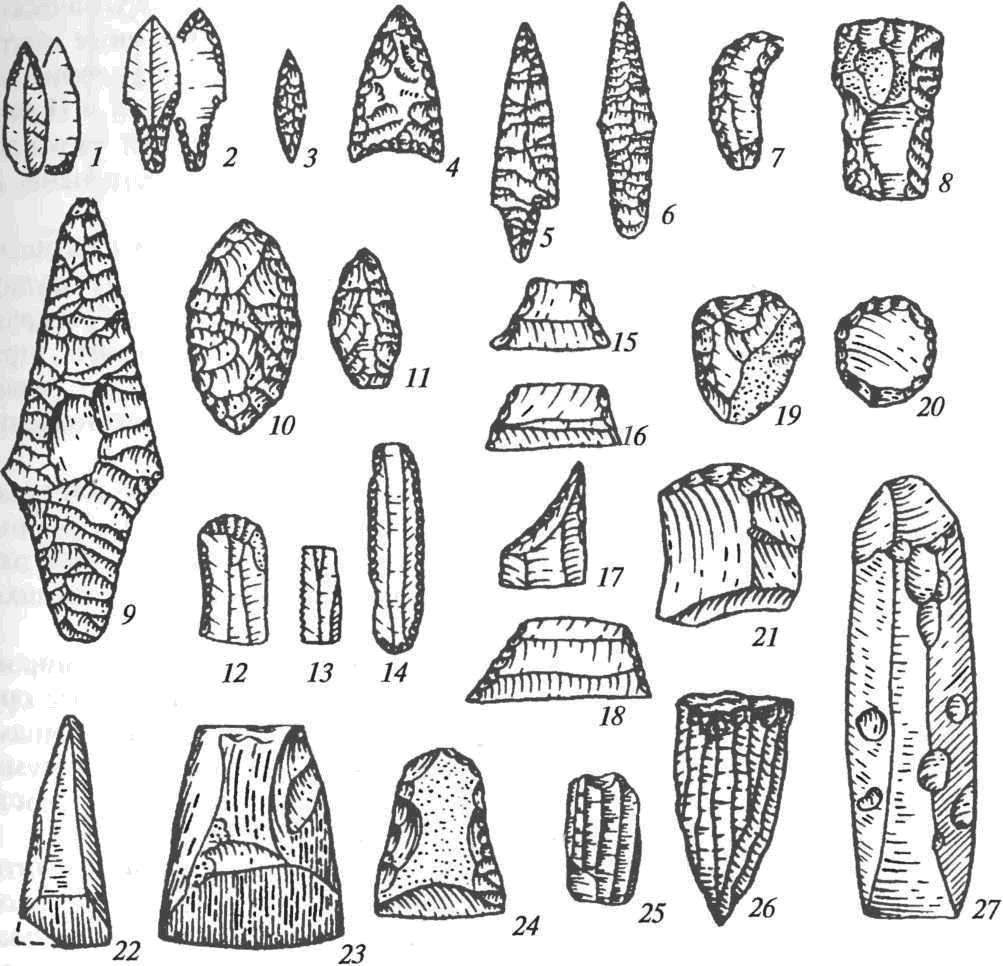 Каменные орудия неолита: 1-6 — наконечники стрел; 7 — нож; 8 — рубящее орудие; 9-11 — наконечники; 12-14 — негеометрические микролиты (пластинки с ретушью); 15-18 — геометрические микролиты; 19-21 — скребки; 22, 23, 27 — шлифованные топоры из сланца; 24 — кремневый топор; 25, 26 — нуклеусы
