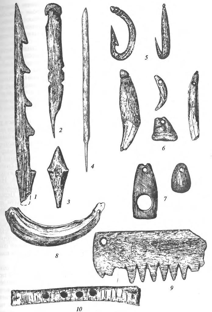 Неолитические изделия из кости и зубов животных: 1- гарпун; 2 — шило; 3, 4 — наконечники стрел; 5 — рыболовные крючки; 6 — подвески из зубов животных; 7 — резные подвески; 8 — подвеска из клыка кабана; 9 — гребень; 10 — флейта