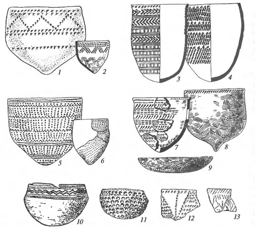 Керамика неолитических культур лесной зоны: 1,2 — верхневолжская культура; 3, 4 — культура сперрингс; 5, 6 — льяловская культура; 7-9 — нарвская культура; 10-13 — волосовская культура