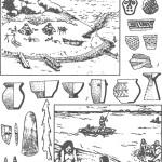 Хозяйство и материальная культура неолитических племен Приморья: 1 — варианты росписи и орнамента посуды; 2 — формы керамических сосудов; 3 — орудия из камня и кости