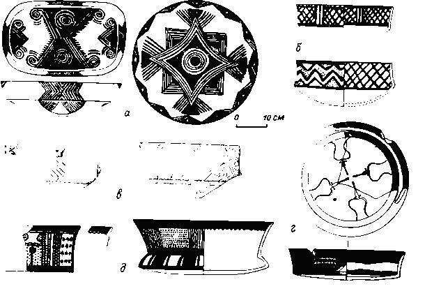 Типы расписной керамики из: а — Хаджилара, б — Чатал Хююка (западный холм), в — Джан Хасана, г—д — раннего периода халафской культуры.