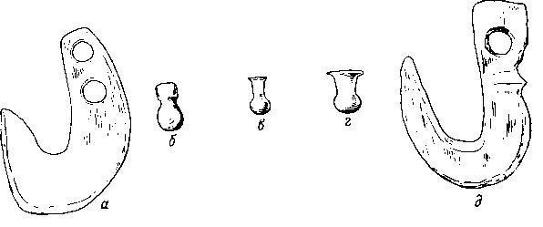 Костяные крючки для пояса и каменные «запонки»: а—в — из Суфли Магула, Фессалия; г — из Хаджилара VI; д — из Чатал Хююка VI.