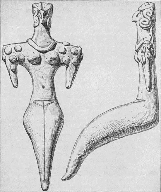 16. Женская статуэтка из Кара-тепе. Глина. III тыс. до н. э.