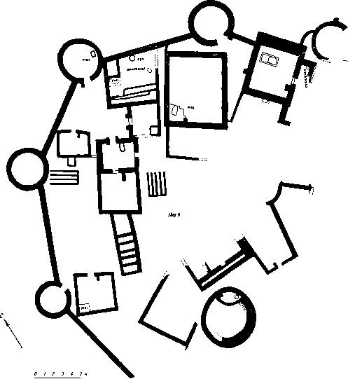 13. Поселение с обводной стеной в Муллали-тепе. Вторая половина IV тыс. до н. э. План.