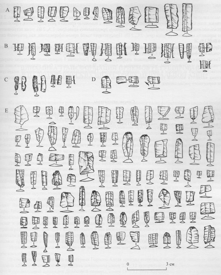 Рис. 2. Каменный инвентарь с памятника Гвоздевка-1. А, В, C, D - пластины с ретушью, Е - пластины без ретуши.