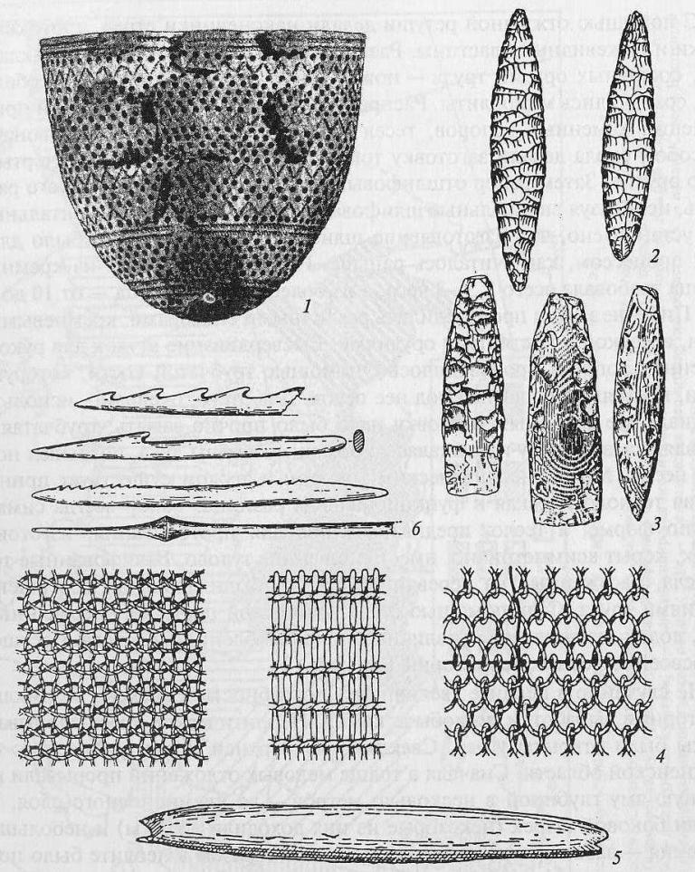 Изобретения эпохи неолита: 1 - остродонный сосуд; 2 - ретушированные наконечники стрел; 3 - каменные топоры и тесла; 4 - типы ткани; 5 - ткацкий челнок; 6 - костяные гарпуны и наконечники стрел