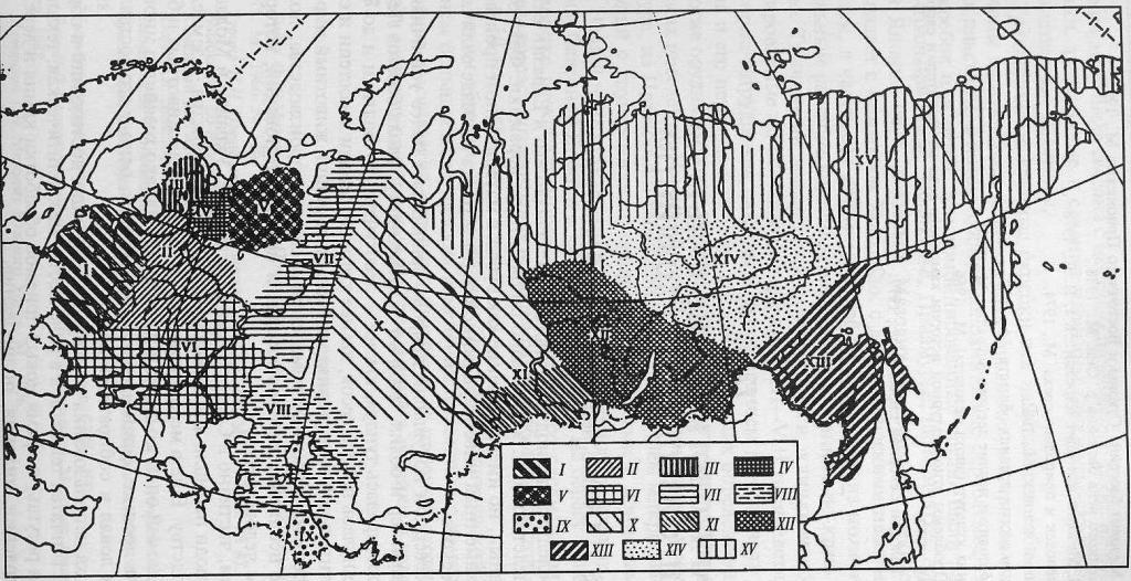 Неолитические культуры и культурные области Евразии (VI-II тысячелетий до н.э.): I - область гребенчатой керамики; II - неолит Среднерусской равнины (область ямочно-гребенчатой керамики; III - карельская неолитическая культура; IV - каргопольская культура; V - область беломорской культуры и гребенчатой керамики севера; VI - неолит юга; VII - область камско-уральского неолита; VIII - область кельтеминарского неолита; IX - джейтунская культура; X - западносибирская неолитическая область; XI - неолит Южной Сибири; XII - прибайкальская неолитическая область; XIII - приамурская неолитическая область; XIV - среднеленская неолитическая область; XV - неолит Северо-Восточной Азии и приарктической зоны
