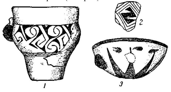 Рис. 110. Неолитическая раскрашенная керамика: 1 — черный орнамент на красновато-коричневом фоне, Мольфетта (1/4); 2 — Матера; 3 — красный и черный орнамент на красновато-коричневом фоне, Мегара Риблеа (1/4).