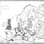 """Рис. 3. Неолитическая Европа за 1800—1500 лет до н. э. I. Выделение скотоводческих племен: 1 — центральноевропейская группа выделяющихся скотоводческих племен (""""культура шнуровой керамики""""); 2 — западноевропейская группа выделяющихся скотоводческих племен (""""культура керамики колоколовидных кубков""""). II. Восточноевропейском группа выделяющихся скотоводческих племен: 3 - лесная подгруппа (""""фатьяновская культура""""); 4 — степная подгруппа (ямно-катакомбовая культура"""")."""