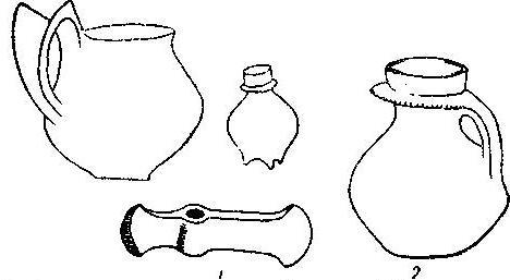 Рис. 90. 1 - инвентарь могилы в Застове (1/7); 2 — фляга с обручиком вокруг горлышка из Наленчова (1/2).