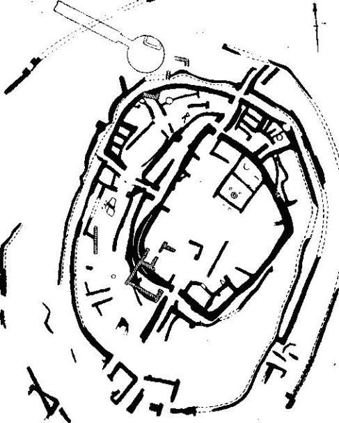 Рис. 33. План укрепленной деревни Димини. По Цунтасу. Черная краска — второй период. Штриховка — более поздний период.