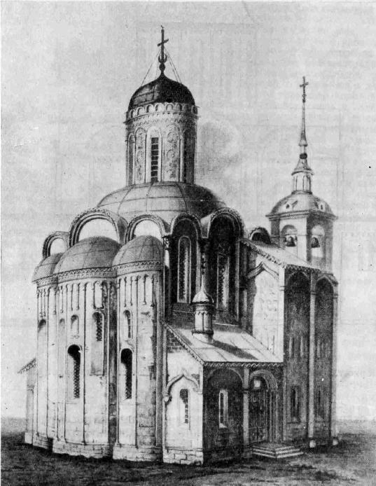 Рис. 11. Дмитриевский собор во Владимире до уничтожения галереи и лестничных башен
