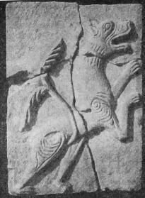 Рис. 16. Резной камень из раскопок Н. А. Артлебена. Барс.