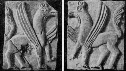 Рис. 17. Резные камни из раскопок Н. А. Артлебена. Грифоны