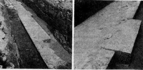 Рис. 4. 1 — основание северной галереи, 2 — деталь кладки