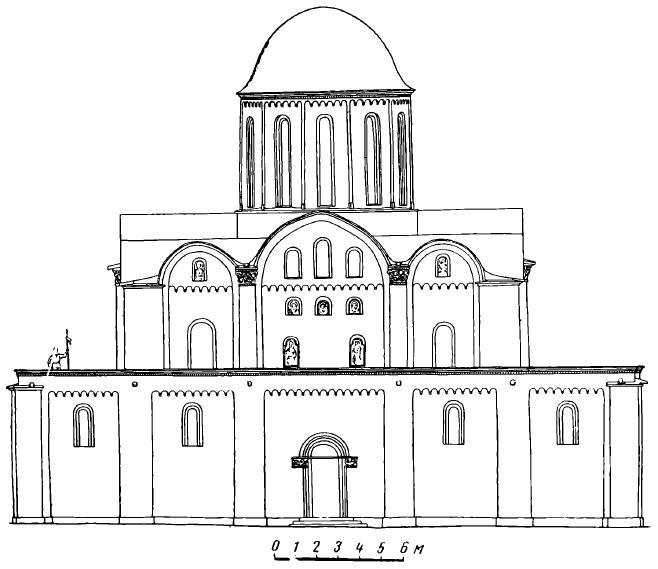 Рис. 10. Борисоглебский собор в Чернигове XII в. Реконструкция архитектора Н.В. Холостенко