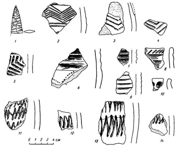 Рис. 2. Омская стоянка. Зачистка 1953 г.; предметы из нижнего очага (ГИМ). 1 — кремневый наконечник стрелы; 2—14 — керамика.