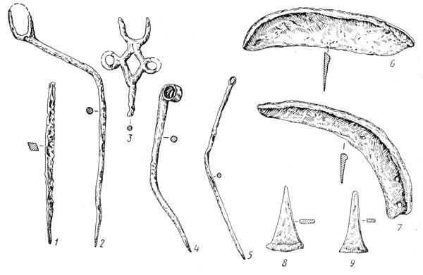 Рис. 132. Изделия из бронзы культуры Ноа: 1 — шило, 2, 3, 4, 5 —булавки, 6, 7 — серпы, 8, 9 — сечкообразные резчики