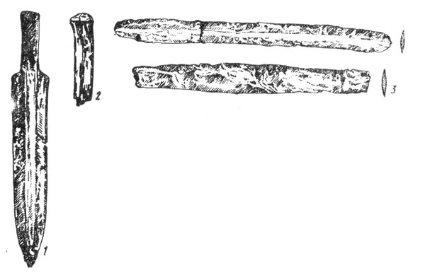 Рис. 140. Находки с поселения близ Кишинёва: 1 — бронзовый кинжальчик, 2 — обломок костяного псалия, 3 — бронзов пилки