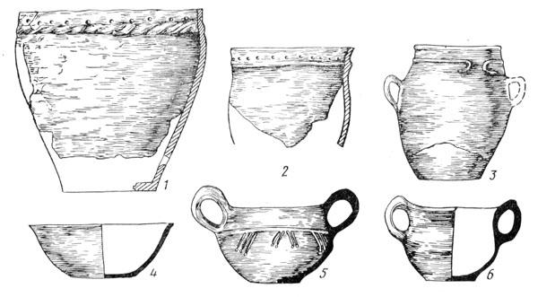Рис. 130. Керамика культуры Ноа: 1, 2, 3 — сосуды баночной формы, 4 — миска, 5, 6 — двуручные кубки