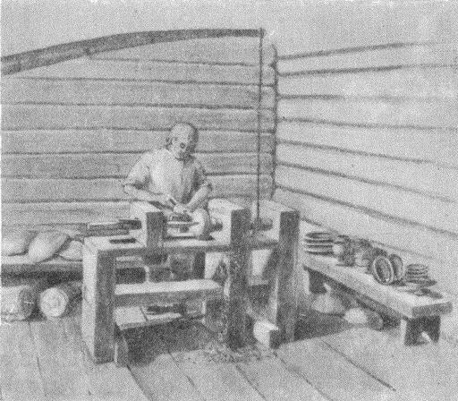 Рис. 6. Токарная мастерская XI—XII вв. (Опыт реконструкции автора)