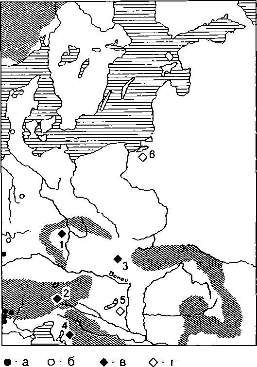 Рис. 2. Крестообразные фибулы и обереги в Центральной и Южной Европе (VII-IX вв.). а - крестообразные фибулы типа Годдельсхайм; б - крестообразные фибулы типа Вормс; в - крестообразные универсальные обереги (пункт находки идентифицирован); г - крестообразные универсальные обереги (пункт находки не идентифицирован). 1 - Будем (Чехия); 2 - Каппеле/Ядерсдорф (Австрия); 3 - Микульчице (Чехия); Нин-Здряг (Хорватия); 5 - Венгрия; 6 - Самбия. Источник: Schulze-Dorrlamm, 1997, Abb. 3 (с дополнениями авторов).