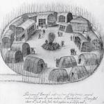 Рис. 15.10. Пример общины. Алгонкинское поселение в Северной Каролине, набросок Джона Уайта