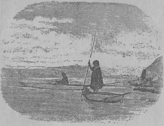 Рис. 16. Австралийцы ловят рыбу в своих каное.