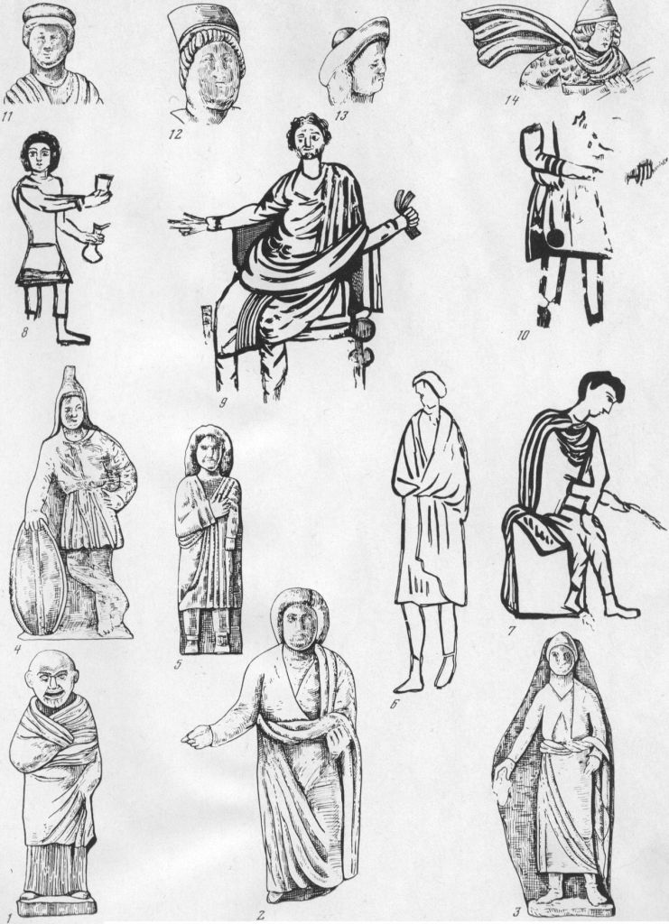 Таблица CLII. Мужская одежда и головные уборы  1 — старик в длинном широком хитоне и гиматии, IV в. до н. э., Большая Близница, терракота; 2 — мужская фигура в рубахе негреческого образца и в гиматии, IV—III вв. до н. э.; 3 — мужская фигура в кафтане, застегнутом на груди, и плаще, на голове — остроконечная шапка, мягкие сапоги на ногах, II в. до н. э., надгробие; 4 — боспорский воин в войлочном колпаке и кафтане (?), I—II вв., Пантикапей, терракота; 5 — мужская фигура в коротком хитоне, гиматии и башмаках, I в., Пантикапей, надгробие (верхний рельеф); 6 — фигура слуги в плаще и сапожках, I в., Пантикапей, фреска на стене склепа; 7 — художник за работой в плаще, штанах, рубахе с рукавами и сапожках, I II вв., Пантика-пей, роспись саркофага; 8 — фигура слуги в короткой подпоясанной рубахе, штанах, сапогах, И—III вв., склеп, фреска; 9 — мужская фигура в рукавном хитоне, штанах, сапогах, гиматии, III в., Горгиппия, фреска на стене склепа 1975 г.; 10 — мужская фигура в полосатом кафтане, сапогах, IV в., Херсонес, фреска на стене склепа 1853 г.; 11—14 — типы головных уборов. Составитель Е. А. Савостина