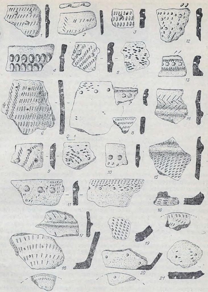 Рис. 10. Керамика одиновского типа. 1-2 - Кама-1, остальное - Марково-2.