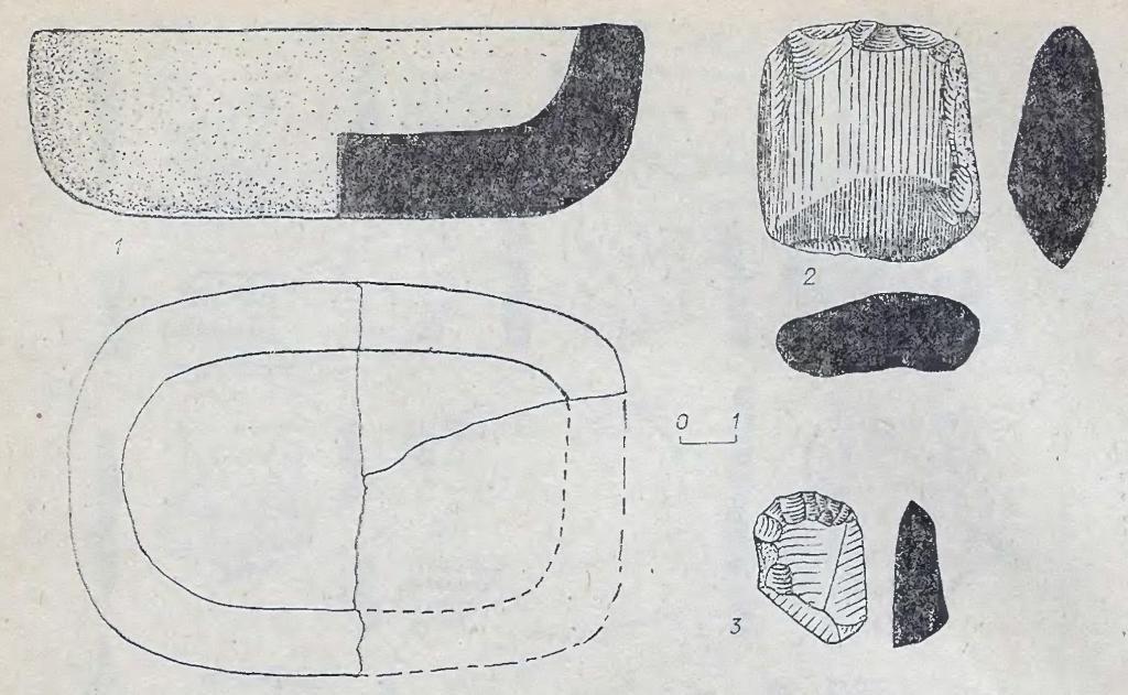 Рис. 12. Инвентарь одиновского типа.  1, 2 - Марково-2; 3 - Кама-1. 1 - глина; 2,3 - камень.