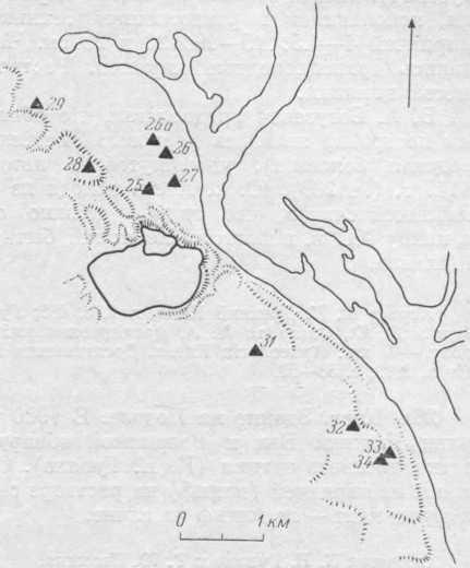 Рис. 2. Окрестности Киева. Схема расположения памятников.