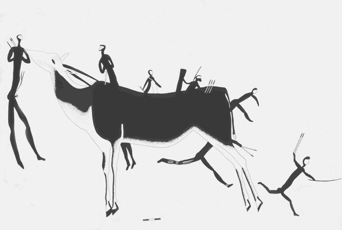 Сцена с антилопой, нарисованной на скале в пещере охотников-собирателей сэн. Возможно, охотники танцуют вокруг животного, изображение которого намеренно нанесено на фигурки людей