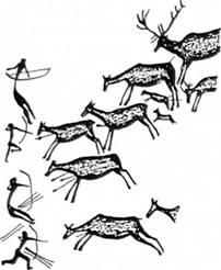 Рис. 20. Полювання на благородних оленів з луком і стрілами. Грот Валторта (Іспанія)