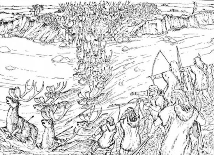 Рис. 16. Полювання на північних оленів на річковій переправі в Поліссі 10 тис. років тому (реконструкція Л. Л. Залізняка та П. В. Корнієнка)