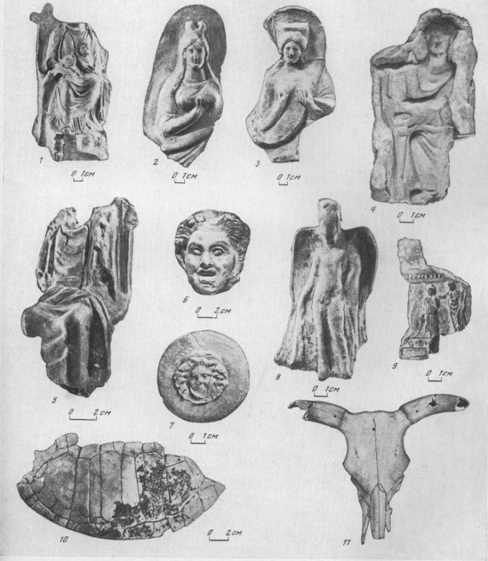 Таблица XIII. Ольвия. Теменос. Находки из цистерны. Терракоты III в. до н. э. 1 — Кибела; 2 — Афродита; 3 — Деметра; 4 — форма для оттиска статуэтки Аполлона III в. до н. э. (к востоку от храма Аполлона); 5 — Зевс, 6 — Сатир; 7— Медуза; 8 — крылатый гений — Иакх; 9 — часть алтарика — Посейдон и Афродита; 10 — панцирь черепахи; 11 — череп быка. Составитель Е. И. Леви