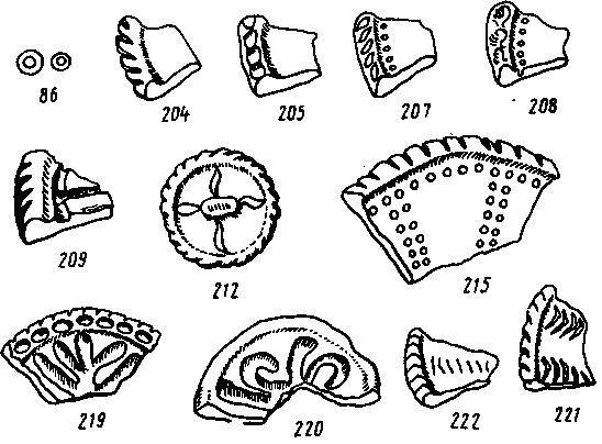 Рис. 25. Орнаментированные крышки котлов из Пенджикента (по Маршаку)