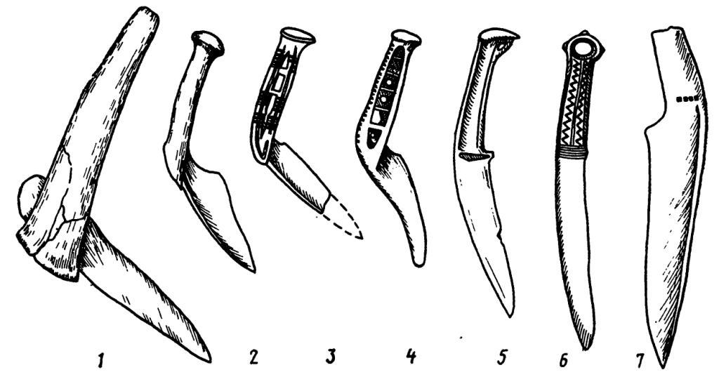 Рис. 28. Изменчивость угла между клинком и рукояткой у докарасукских, карасукских и тагарских ножей от составного (1) к цельнолитым и кованым (2—7)