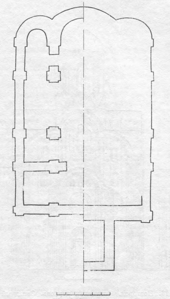 Рис. 17. Новгород. Церковь Ивана на Опоках. Гипотетическая реконструкция плана. Слева — храм 1127 г.; справа — 1184 г.