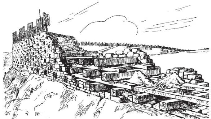 Рис. 24. Реконструкция «галльской стены» - murus gaicus.