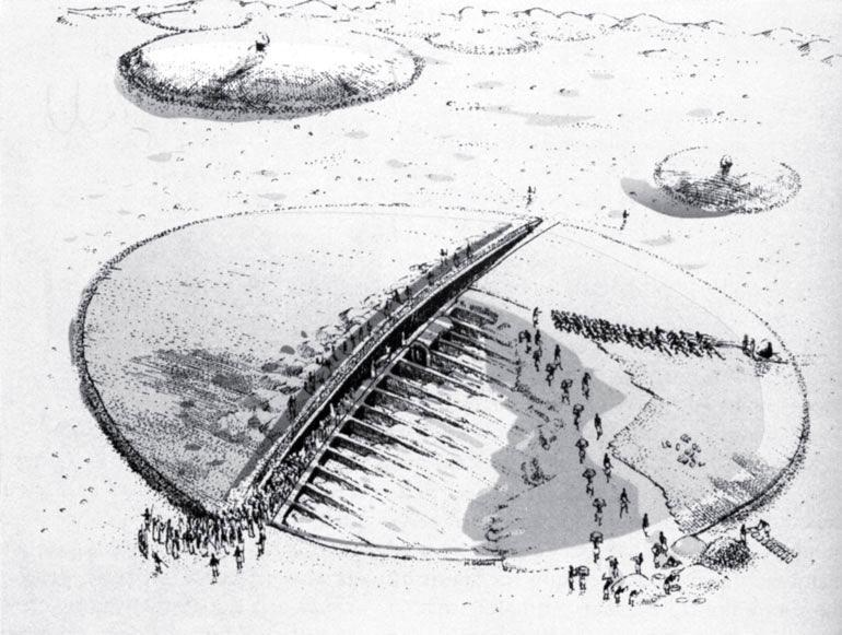 Рис. 16.7. Царское захоронение в керме. Толпы людей торопятся завершить могильный холм
