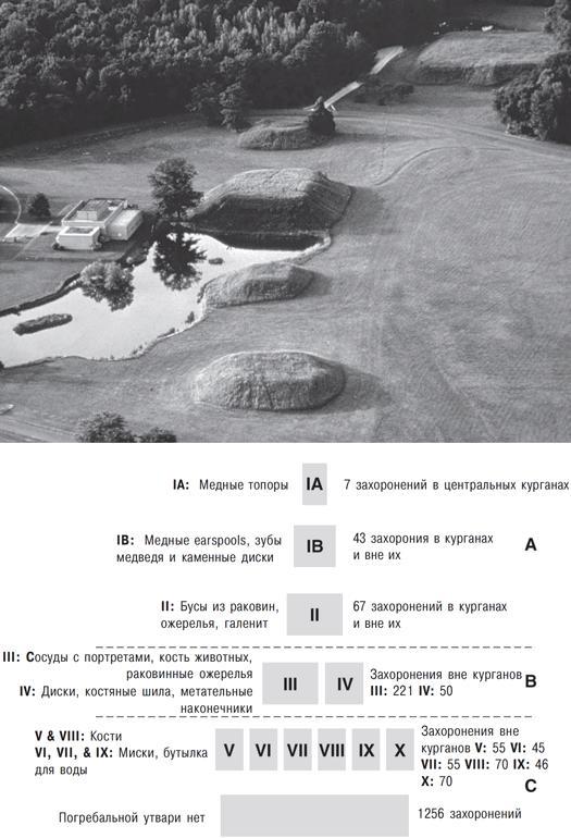 Рис. 16.8. Маундвилль, Алабама. Пирамидоподобная социальная иерархия захоронений, разработанная Пиблзом на основании анализа более чем двух тысяч могил. Артефакты, перечисленные напротив отдельных скелетов, являются погребальными предметами, найденными рядом с ними