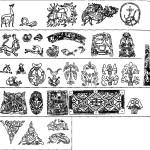 Рис. 92. Орнаментальное искусство Скандинавии 1 — стиль Урнес в Норвегии, стиль Рингерике, стиль рунических камней, 2 — еллингский стиль, 3 — поздний викингский стиль, или стиль Борре (вторая половина IX - первая половина X в.), 4 — ранний викингский стиль, или усебергский стиль (конец VIII — первая половина IX в.), 5 — вендельский стиль VII-VI11 вв.