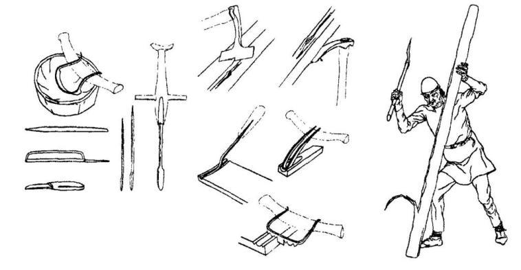 Рис. 69. Деревообрабатывающие инструменты (реконструкция Б. Альмгрена)