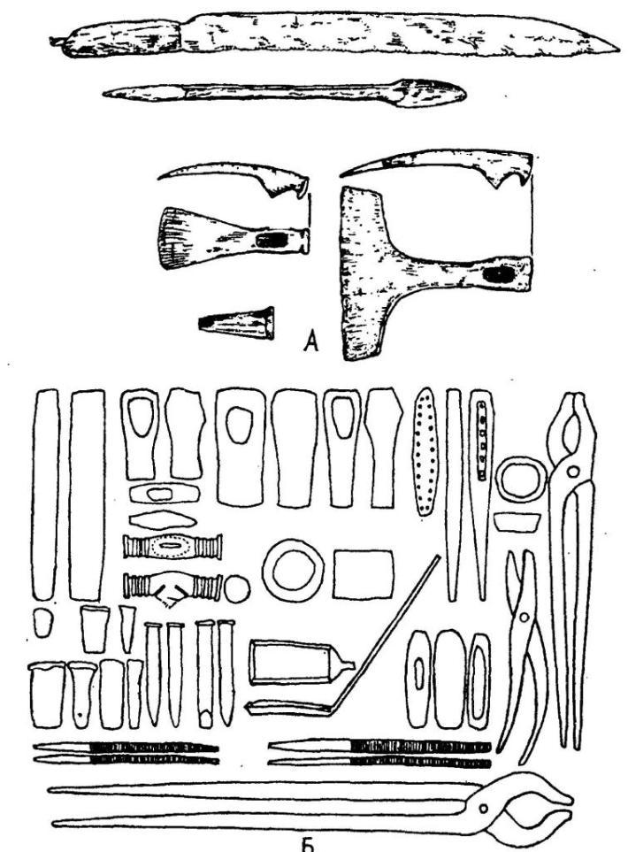 Рис. 67. Орудия ремесленного труда. А — из ларца с инструментами, принадлежавшего ремесленнику и найденного в Местермюр, на Готланде; Б — из погребения в Бюгланде, Норвегия (по П. Футу и Д. Вильсону)