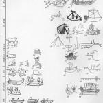 Таблица LXXXV. Военно-морские, торгово-транспортные, промысловые и вспомогательные суда I — военное судно с тараном-монэра, рисунок на горле чернофигурного сосуда, конец VI в. до н. э., Пантикапей; 2—4 — суда с таранами, граффити на крышке леканы, Мирмекий, V в. до н. э.; 5 — диэра на щитке перстня, Пересыпь, конец IV — начало III в. до н. э.; 6—пентеконтера на рельефной чаше, III—II вв. до н. э., Фанагория; 7 —судно с тараном на рельефе надгробной стелы, Пантикапей, начало II в. до н. э.; 8 — носовые части судов с тараном, изображение на надгробной стеле 150—125 гг. до н. э.; 9 — нос судна с тараном на пантикапейской монете конца II в. до н. э.; 10 — нос корабля с тараном на херсонесской монете конца 11 — начала I в. до н. э.; 11 — нос корабля с тараном на фанагорийской монете 30—17 /16 гг. до н. э.; 12 — нос корабля с тараном и Никой на понтийской монете после 41 г. н. э.;13 — нос корабля с тараном на монете Агриппии (Фанаго- рии) 14—8 гг. до н. э.; 14 — нос корабля с тараном на пантикапейской монете конца II — начала I в. до н. э.; 15—военный корабль с бараном на палубе на стеклянной гемме I в. н. э., Беляус; 16 — кормовая часть торгового судна, граффити, эллинизм; 17 — реконструкция торгового судна, затопувшего в районе Евпатории, конец IV — начало III в. до н. э.; 18 — мачты, реи и парус торгового судна, граффити, эллинизм, Пантикапей; 19 —кормовая часть торгового судна, граффити II в. до н. э.— I в., Пантикапей; 20— носовая часть транспортного судна, граффити, Пантикапей, I в. до н. э.— I в. н. э.; 21 — бортовая часть торгового судна, граффити I в. до н. э.— I в. н. э.; Пантикапей; 22 — носовая часть торгового судна на фоне крепостной стены, граффити I в. до н. э.— I в. н. э. Патрей; 23 — мачта с тросами стоячего такелажа, граффити I в., Пантикапей; 24 — торговое судно, граффити I в., Пантикапей; 25 — двурогий якорь, граффити I в., Южпо-Допузлавское городище; 26 — торгово-промысловое судно I в., врезной рисунок, Фанагория; 27 — мачта реи и паруса, рельеф II—II