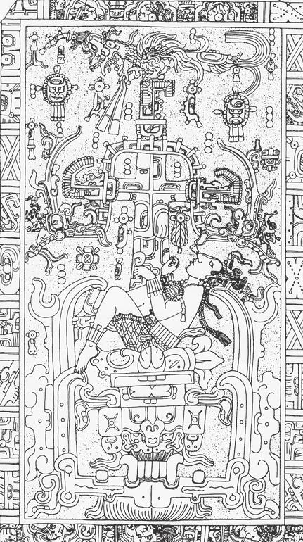 Рис. 17.1. Рисунок плиты саркофага в гробнице Пакаля Великого, Паленке, 683 год до н. э. Сквозь лишенные плоти челюсти правитель падает в потусторонний мир. Над ним растет Дерево Мира, на вершине которого сидит птица — чудовище Вугуб Кагикс. Ряд небесных тел и фигур наследников окружает всю эту сцену