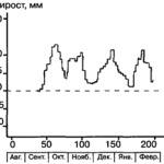 """Рис. VI. 3. """"Пульсы"""" и """"стазисы"""" ростового процесса на основании еженедельных измерений длины голени у 8-летнего мальчика"""
